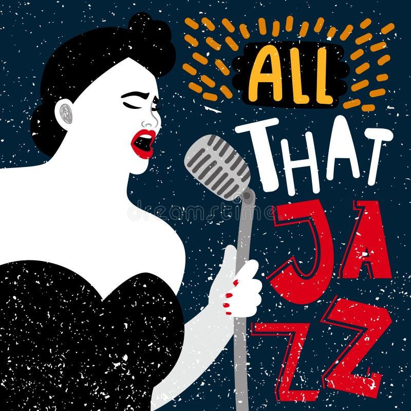 Έμβλημα μουσικής με το θηλυκό τραγουδιστή Όλη αυτή η διανυσματική απε ελεύθερη απεικόνιση δικαιώματος