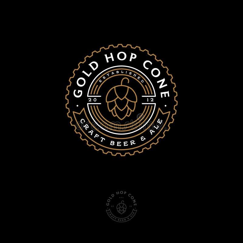 Έμβλημα μπαρ μπύρας Λογότυπο κώνων λυκίσκου Μπύρα και αγγλική μπύρα τεχνών logotype Ύφος χάραξης διανυσματική απεικόνιση