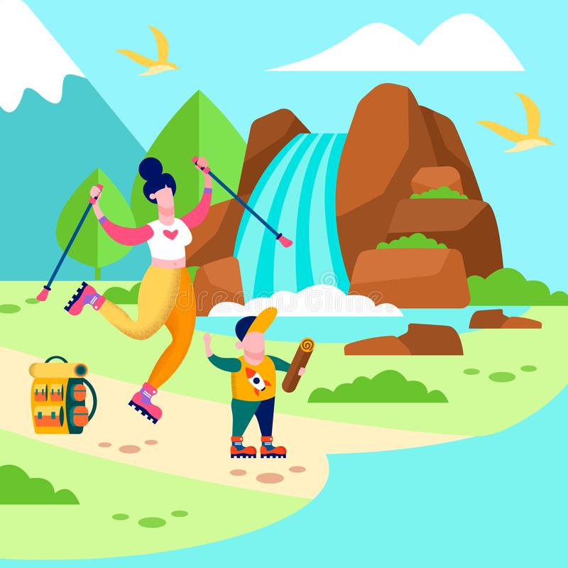 Έμβλημα οικογενειακού υπαίθρια Promo καρτών ταξιδιού γιων μητέρων απεικόνιση αποθεμάτων