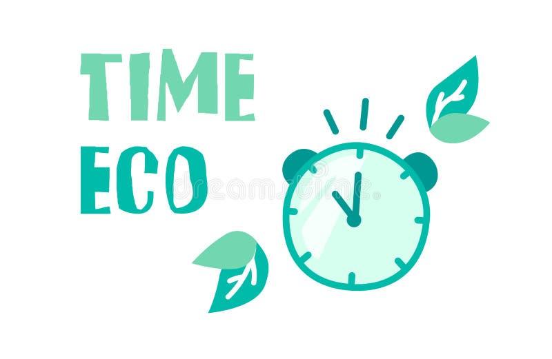 Έμβλημα οικολογίας με το ρολόι, τα πράσινα φύλλα και το χρονικό eco κειμένων r απεικόνιση αποθεμάτων