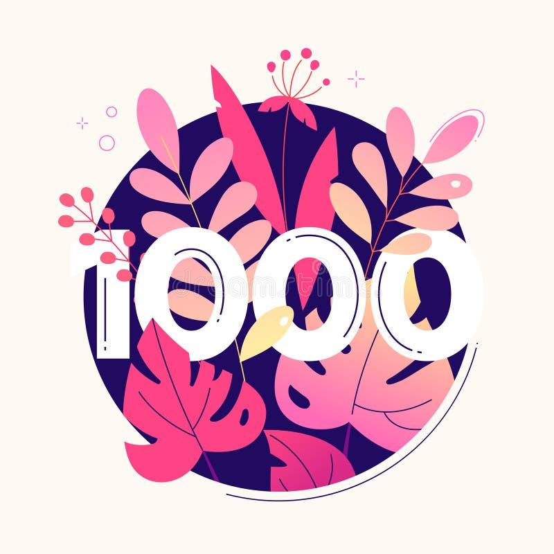 έμβλημα 1000 οπαδών - σύγχρονη επίπεδη απεικόνιση ύφους σχεδίου απεικόνιση αποθεμάτων