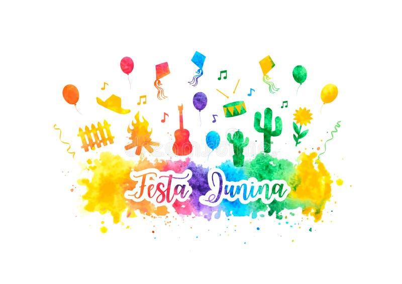 Έμβλημα ουράνιων τόξων watercolor φεστιβάλ Junina Βραζιλία Festa Διακοπές λαογραφίας Πυρκαγιά φεστιβάλ r απεικόνιση αποθεμάτων