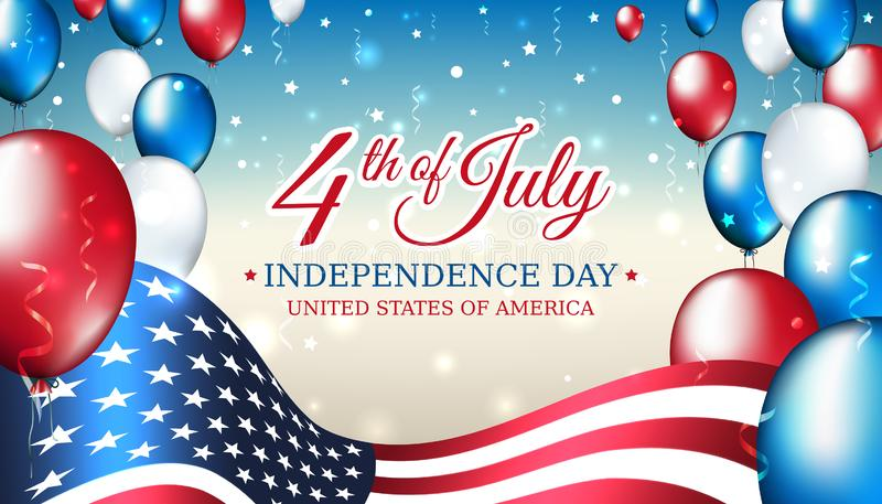 Έμβλημα 4ο ΗΠΑ της ημέρας της ανεξαρτησίας Ιουλίου, του διανυσματικού προτύπου με τη αμερικανική σημαία και των χρωματισμένων μπα ελεύθερη απεικόνιση δικαιώματος