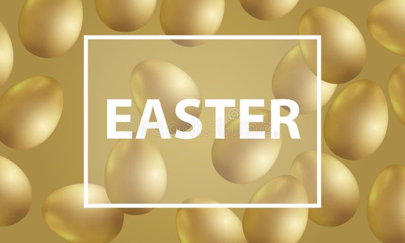 Έμβλημα Πάσχας με τα χρυσά αυγά ελεύθερη απεικόνιση δικαιώματος