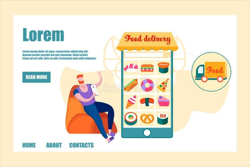 Έμβλημα παράδοσης τροφίμων, χρήση κινητό App ατόμων στη διαταγή ελεύθερη απεικόνιση δικαιώματος
