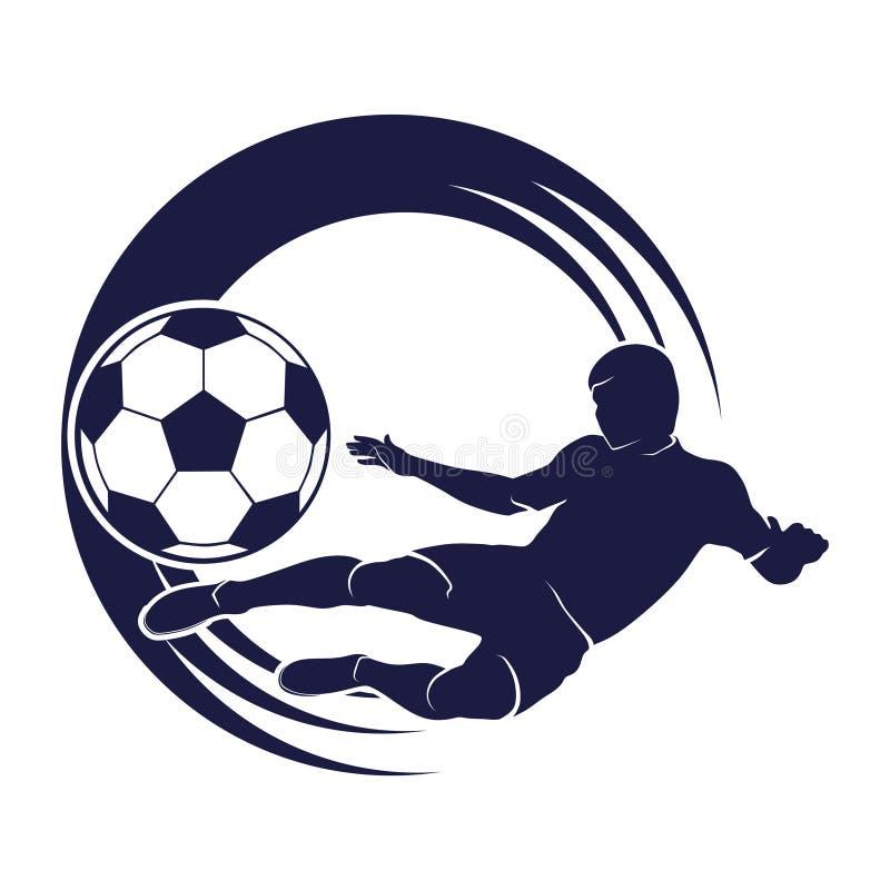 Έμβλημα ποδοσφαίρου με μια σκιαγραφία του φορέα και της σφαίρας ελεύθερη απεικόνιση δικαιώματος