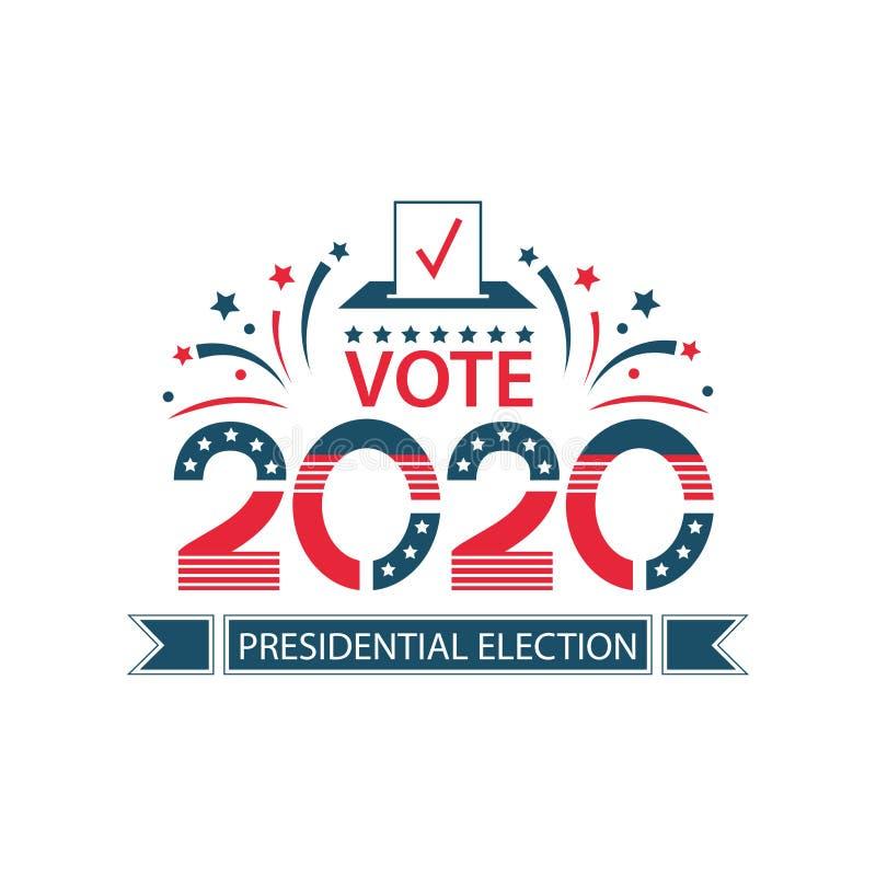 Έμβλημα προεδρικών εκλογών 2020 Ηνωμένων Πολιτειών της Αμερικής Ψηφοφορία εμβλημάτων ΑΜΕΡΙΚΑΝΙΚΩΝ σημαιών απεικόνιση αποθεμάτων