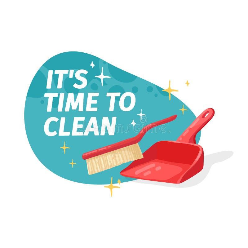 Έμβλημα προτύπων με για τον καθαρισμό σπιτιών Σχεδιάγραμμα για την καθαρίζοντας υπηρεσία με το οικιακό αγαθό Dustbag με τη βούρτσ ελεύθερη απεικόνιση δικαιώματος
