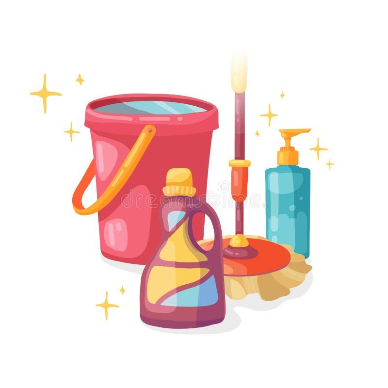 Έμβλημα προτύπων με τη σφουγγαρίστρα και κάδος για τον καθαρισμό σπιτιών Σχεδιάγραμμα για την καθαρίζοντας υπηρεσία με το καθαρίζ διανυσματική απεικόνιση