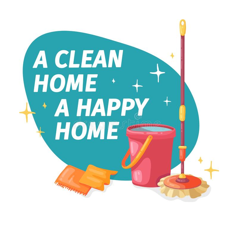Έμβλημα προτύπων με τη σφουγγαρίστρα και κάδος για τον καθαρισμό σπιτιών Σχεδιάγραμμα για την καθαρίζοντας υπηρεσία με το καθαρίζ ελεύθερη απεικόνιση δικαιώματος