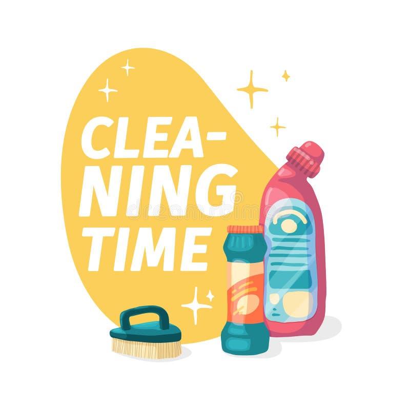 Έμβλημα προτύπων με το χημικό προϊόν μάχης για τον καθαρισμό σπιτιών Σχεδιάγραμμα για την καθαρίζοντας υπηρεσία με τις οικιακές χ διανυσματική απεικόνιση