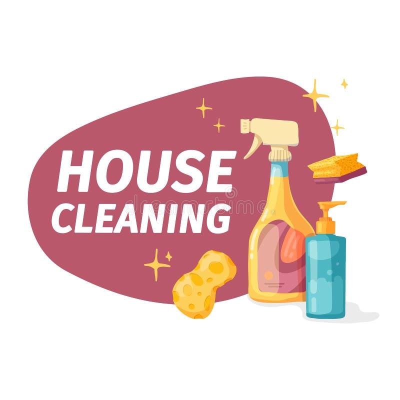 Έμβλημα προτύπων με το χημικό προϊόν μάχης για τον καθαρισμό σπιτιών Σχεδιάγραμμα για την καθαρίζοντας υπηρεσία με τις οικιακές χ ελεύθερη απεικόνιση δικαιώματος