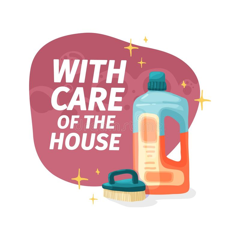 Έμβλημα προτύπων με το χημικό προϊόν μάχης για τον καθαρισμό σπιτιών Σχεδιάγραμμα για την καθαρίζοντας υπηρεσία με τις οικιακές χ απεικόνιση αποθεμάτων