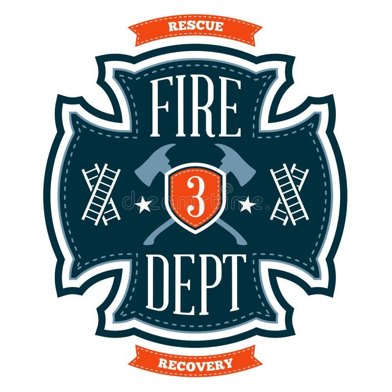 Έμβλημα πυροσβεστικών υπηρεσιών διανυσματική απεικόνιση