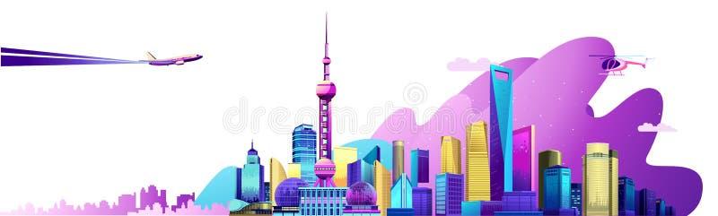 Έμβλημα πόλεων της Σαγκάη διανυσματική απεικόνιση