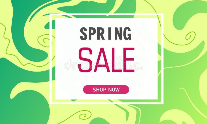 Έμβλημα πώλησης άνοιξη στο υγρό υπόβαθρο χρωμάτων με τις κατσαρωμένες γραμμές Πρότυπο για τη διαφήμιση Στοιχείο για το γραφικό σχ διανυσματική απεικόνιση