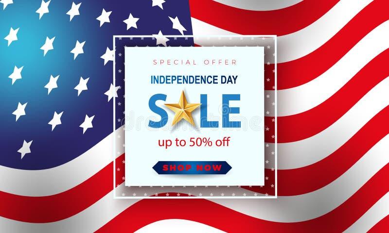 Έμβλημα πώλησης ΑΜΕΡΙΚΑΝΙΚΗΣ ημέρας της ανεξαρτησίας εορτασμός τέταρτος Ιούλ&iot διάνυσμα διανυσματική απεικόνιση
