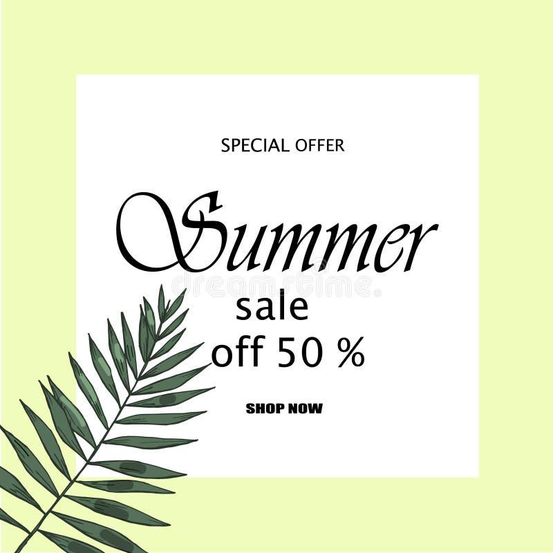 Έμβλημα πώλησης, αφίσα με τα φύλλα φοινικών, φύλλο ζουγκλών και εγγραφή γραφής Floral τροπικό θερινό υπόβαθρο διανυσματική απεικόνιση