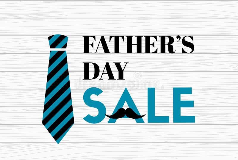 Έμβλημα πώλησης ημέρας πατέρων ` s στο ξύλινο υπόβαθρο ελεύθερη απεικόνιση δικαιώματος