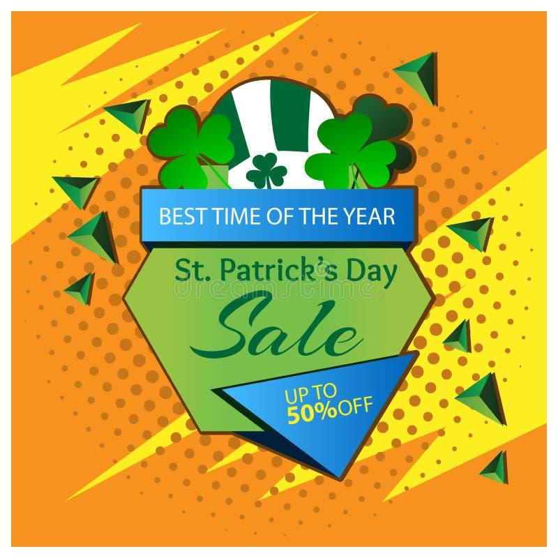 Έμβλημα πώλησης ημέρας του ST Πάτρικ ` s σχέδια για τις αφίσες, τα υπόβαθρα, τις κάρτες, τα εμβλήματα, τις αυτοκόλλητες ετικέττες ελεύθερη απεικόνιση δικαιώματος