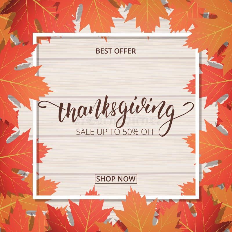 Έμβλημα πώλησης ημέρας των ευχαριστιών Εγγραφή χεριών στο ξύλινο υπόβαθρο με το καθιερώνον τη μόδα φύλλωμα φθινοπώρου διανυσματική απεικόνιση