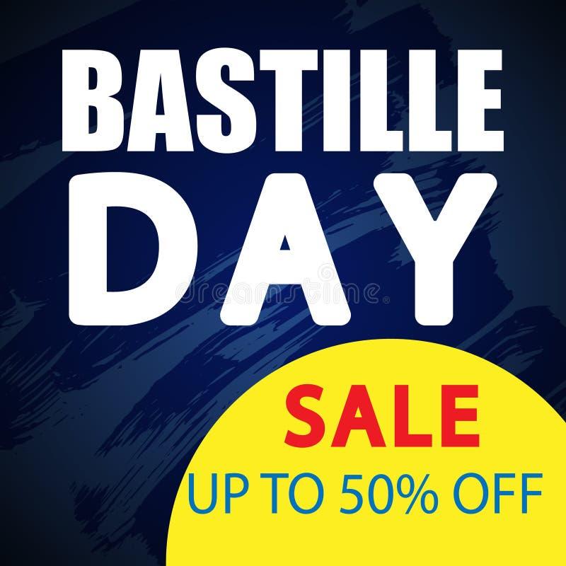 Έμβλημα πώλησης ημέρας Bastille απεικόνιση αποθεμάτων
