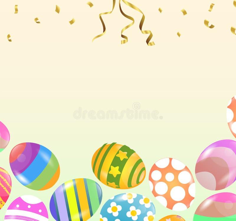 Έμβλημα πώλησης Πάσχας Γιρλάντα του χρωματισμένου διακοσμημένου πνεύματος αυγών Πάσχας απεικόνιση αποθεμάτων