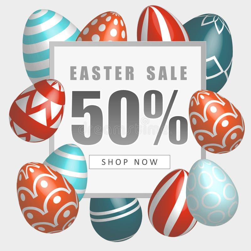 Έμβλημα πώλησης Πάσχας με τα όμορφα ζωηρόχρωμα αυγά Διανυσματική απεικόνιση άνοιξη απεικόνιση αποθεμάτων