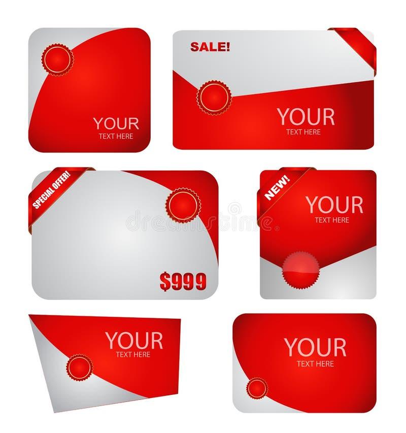 Έμβλημα πώλησης που τίθεται στο κόκκινο απεικόνιση αποθεμάτων