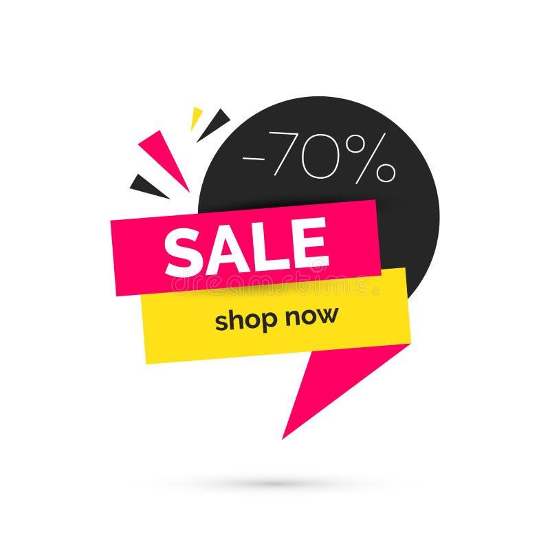 Έμβλημα πώλησης, πρότυπο για την κοινωνική μετα προώθηση στα μέσα μαζικής ενημέρωσης απεικόνιση αποθεμάτων