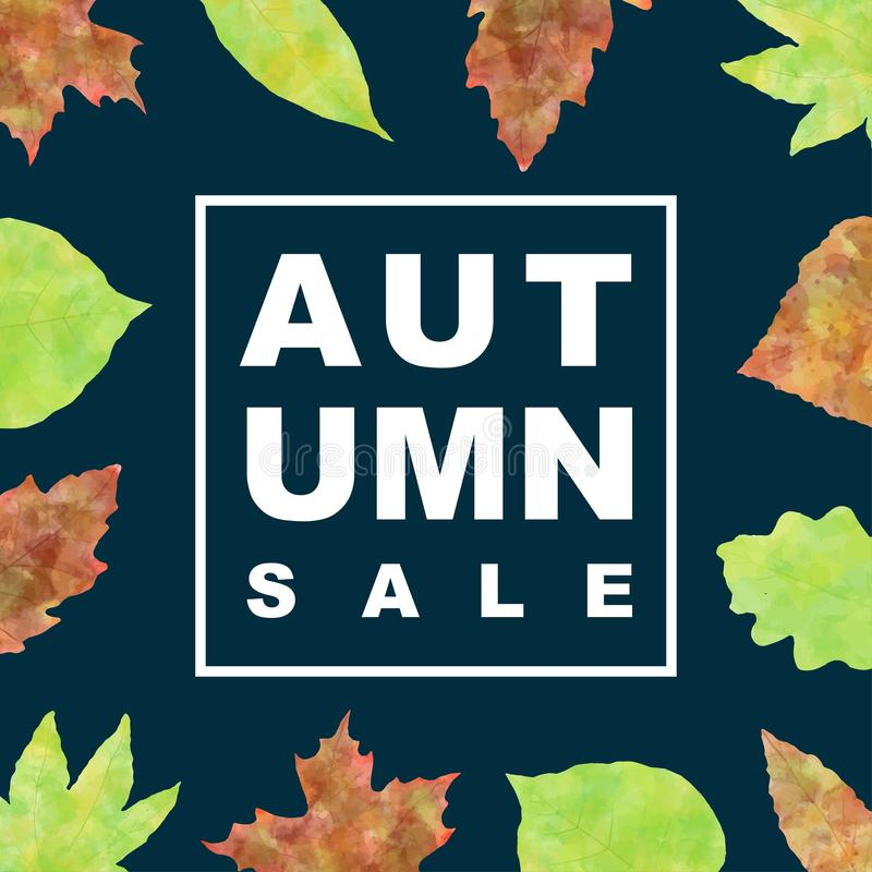 Έμβλημα πώλησης φθινοπώρου με τα φύλλα watercolor στοκ φωτογραφία με δικαίωμα ελεύθερης χρήσης