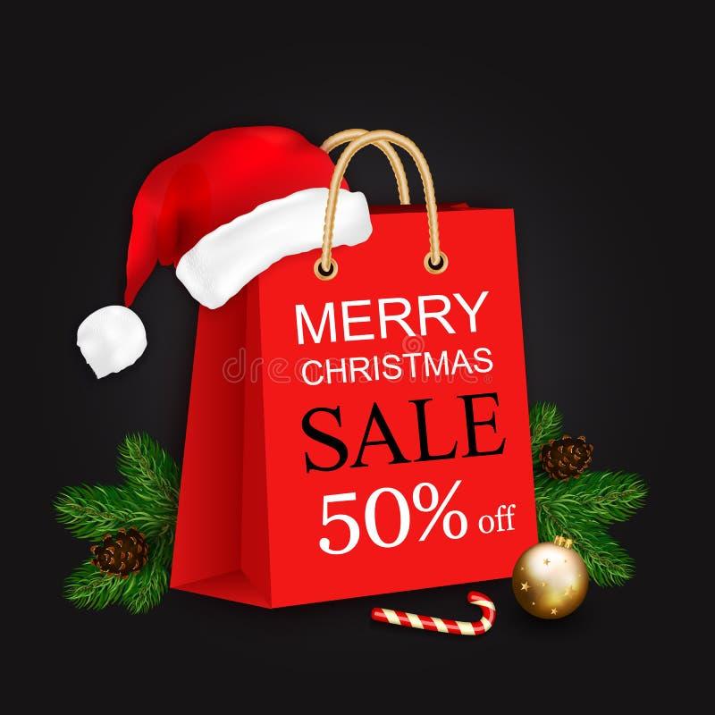 Έμβλημα πώλησης Χαρούμενα Χριστούγεννας με την τσάντα δώρων, καπέλο Santa και christm διανυσματική απεικόνιση