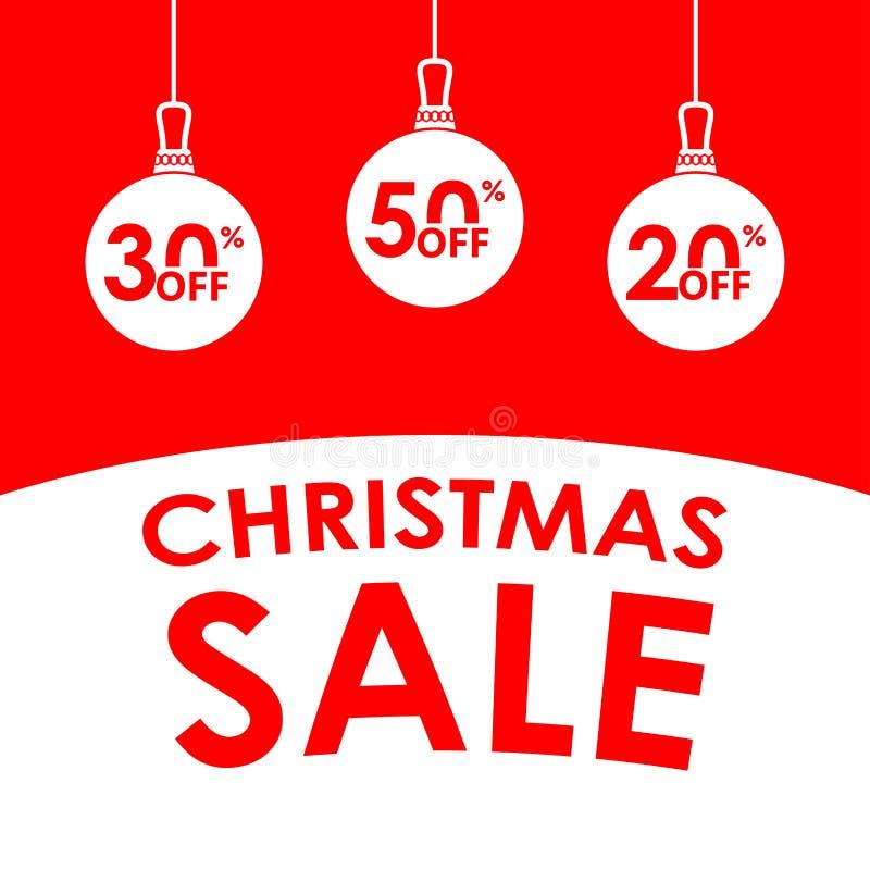 Έμβλημα πώλησης Χριστουγέννων Η πώληση και η έκπτωση Χριστουγέννων σχεδιάζουν το πρότυπο με τις σφαίρες Χριστουγέννων και 20, 30, στοκ φωτογραφίες με δικαίωμα ελεύθερης χρήσης