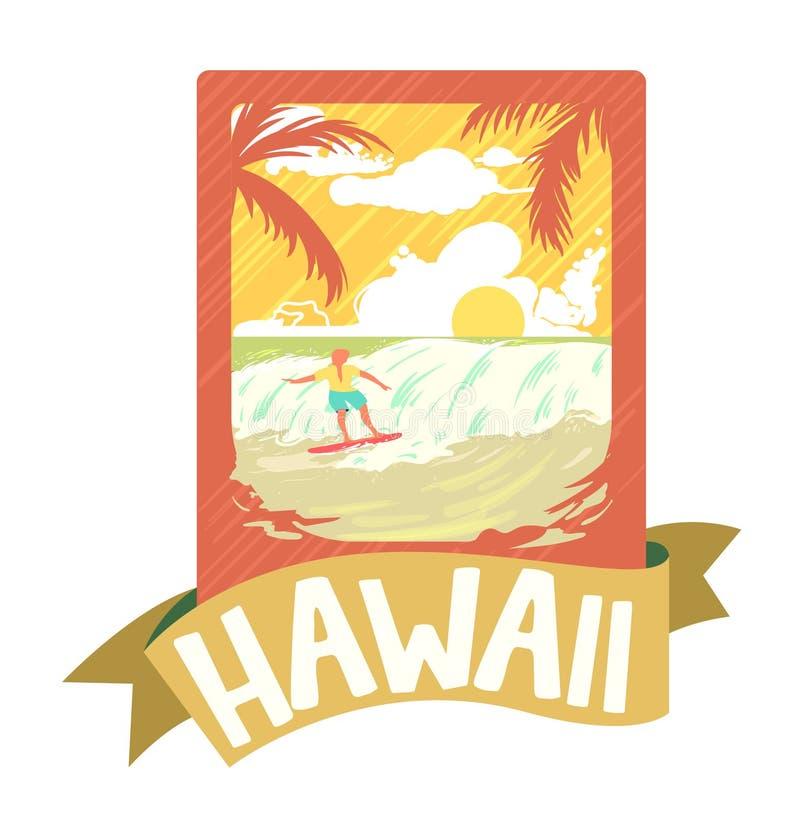 Έμβλημα σερφ τυπωμένων υλών μπλουζών ατόμων κυματωγών, διανυσματική απεικόνιση της Χαβάης ελεύθερη απεικόνιση δικαιώματος