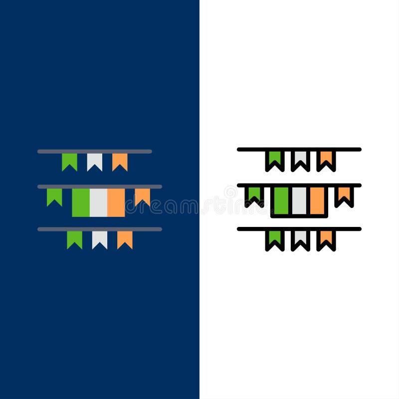 Έμβλημα, σημαία, γιρλάντα, Ιρλανδία, ιρλανδικά εικονίδια Επίπεδος και γραμμή γέμισε το καθορισμένο διανυσματικό μπλε υπόβαθρο εικ διανυσματική απεικόνιση