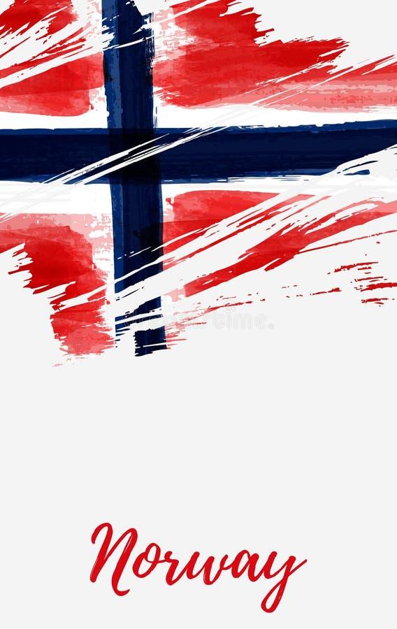 Έμβλημα σημαιών της Νορβηγίας grunge απεικόνιση αποθεμάτων