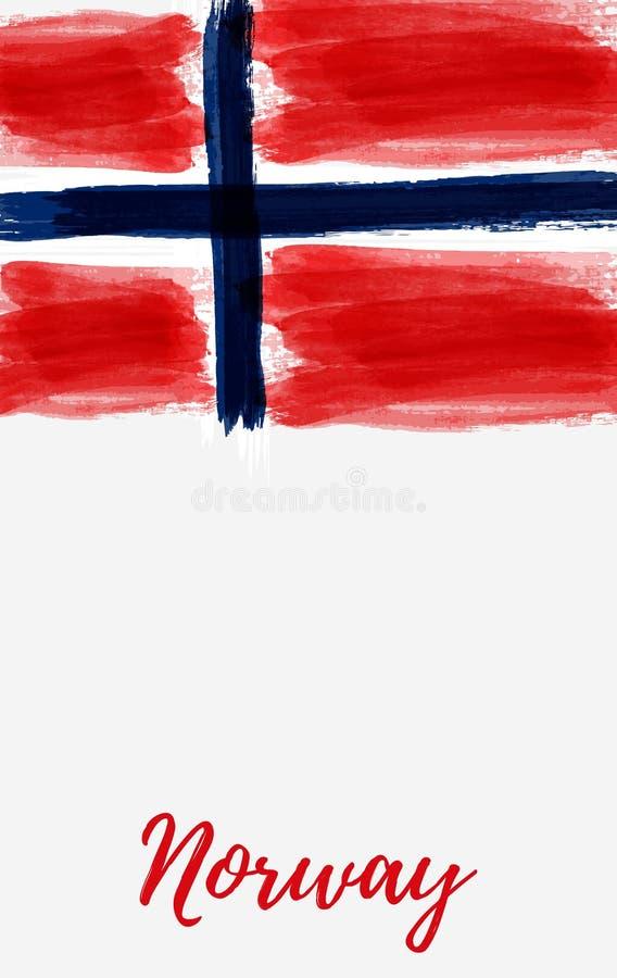 Έμβλημα σημαιών της Νορβηγίας grunge ελεύθερη απεικόνιση δικαιώματος