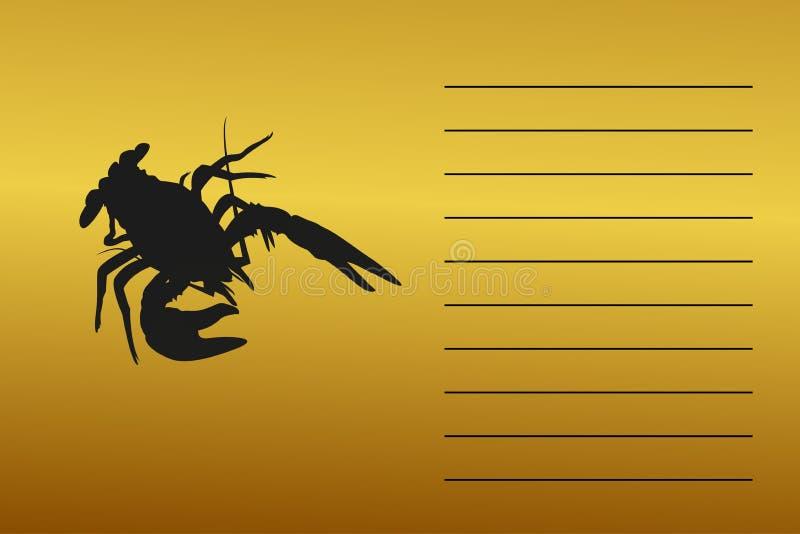 Έμβλημα, σκιαγραφία ενός καρκίνου θάλασσας ποταμών Με το διάστημα για το κείμενο ελεύθερη απεικόνιση δικαιώματος