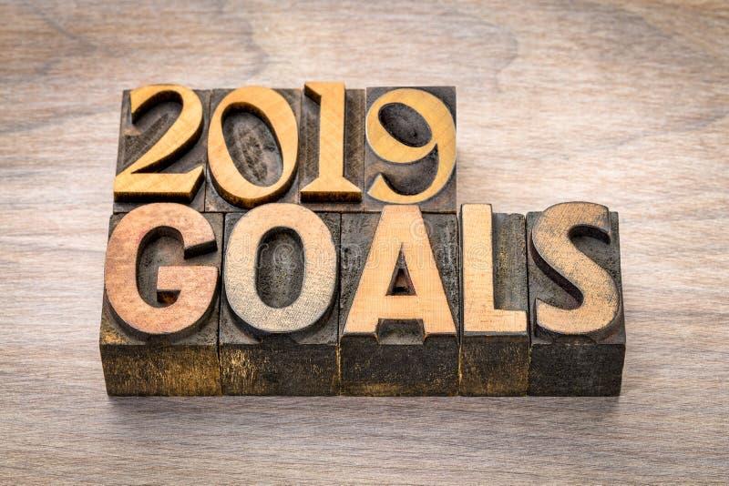 έμβλημα 2019 στόχων στον ξύλινο τύπο στοκ φωτογραφίες