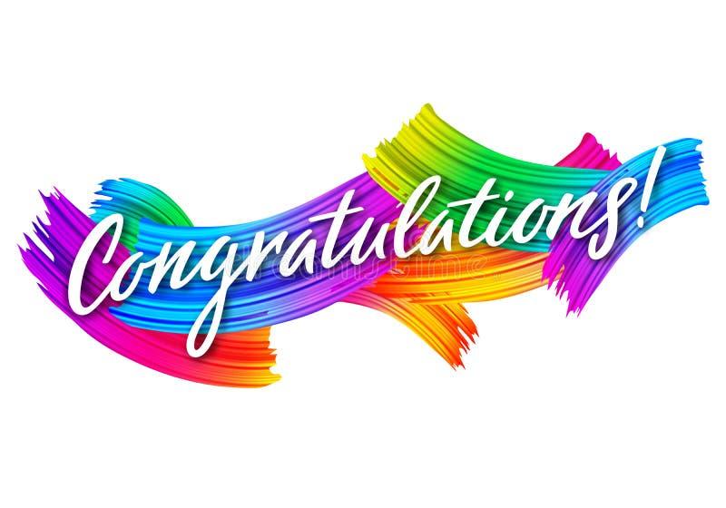 Έμβλημα συγχαρητηρίων με τα ζωηρόχρωμα κτυπήματα βουρτσών χρωμάτων Διανυσματική κάρτα Congrats Μήνυμα συγχαρητηρίων για το επίτευ απεικόνιση αποθεμάτων