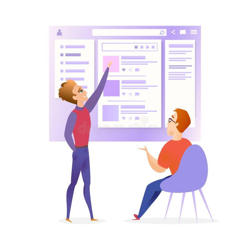 Έμβλημα συνεδρίασης των υπεύθυνων για την ανάπτυξη σχεδιαστών Ui ιστοχώρου ελεύθερη απεικόνιση δικαιώματος