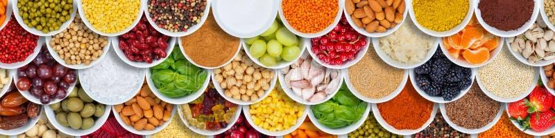 Έμβλημα συστατικών καρυκευμάτων υποβάθρου τροφίμων φρούτων και λαχανικών άνωθεν στοκ εικόνες με δικαίωμα ελεύθερης χρήσης