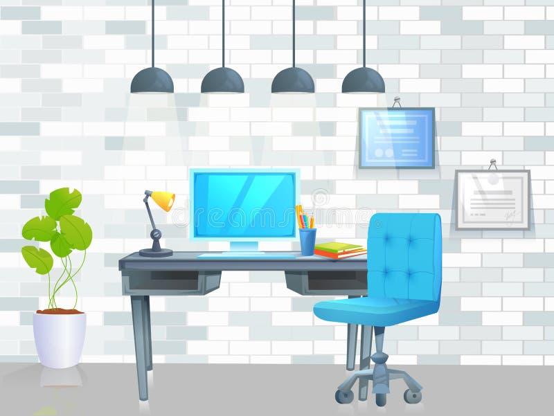 Έμβλημα σχεδίου επίπλωσης γραφείων Εργασιακός χώρος με τον πίνακα και το lap-top και τον καφέ εσωτερικός σύγχρονος Διανυσματική α διανυσματική απεικόνιση