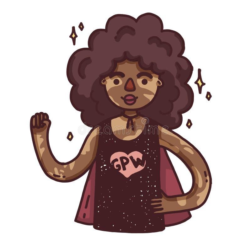 Έμβλημα σχεδίου με ένα νέο αφρικανικό κορίτσι Χαριτωμένη γυναίκα κινούμενων σχεδίων με το vitiligo Ευτυχής χαρακτήρας για μια θετ απεικόνιση αποθεμάτων