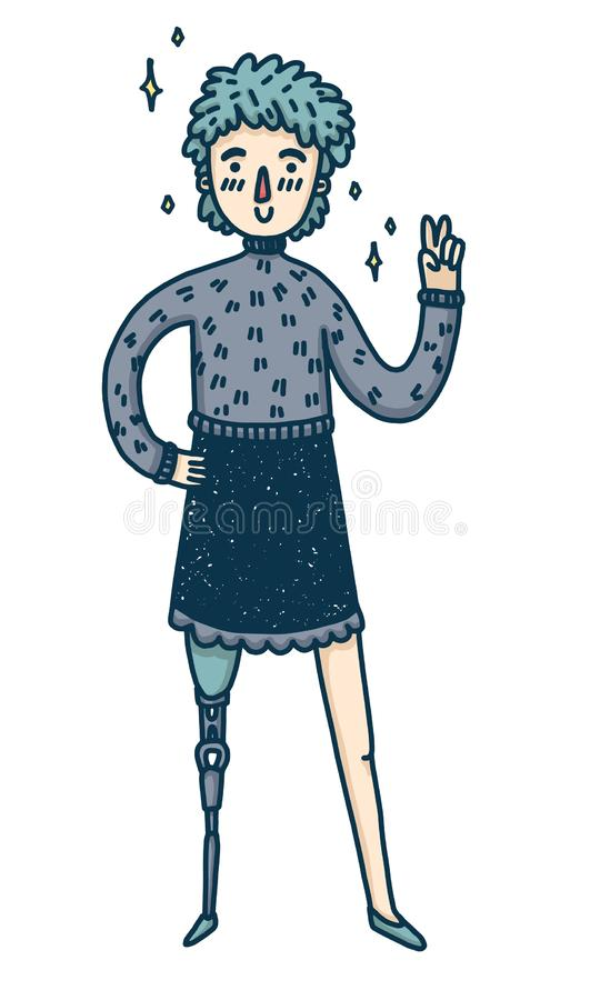 Έμβλημα σχεδίου με ένα νέο κορίτσι εκτός λειτουργίας Χαριτωμένη γυναίκα κινούμενων σχεδίων με το προσθετικό πόδι Ένας ευτυχής χαρ διανυσματική απεικόνιση