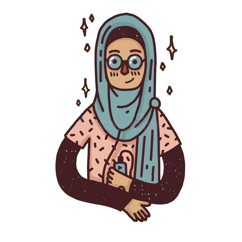 Έμβλημα σχεδίου με ένα νέο μουσουλμανικό κορίτσι στο γυαλί Χαριτωμένη γυναίκα κινούμενων σχεδίων στο hijab Ευτυχής χαρακτήρας για ελεύθερη απεικόνιση δικαιώματος
