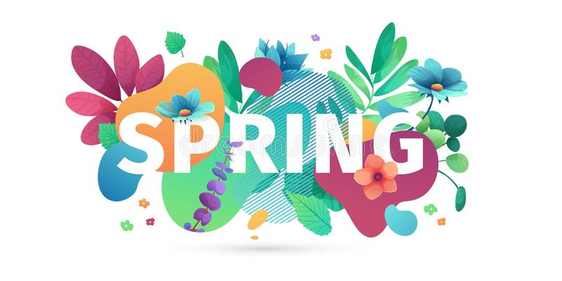 Έμβλημα σχεδίου προτύπων για την πώληση εποχής άνοιξης Σχεδιάγραμμα προσφοράς προώθησης με τα φυτά, τα φύλλα και τη floral διακόσ διανυσματική απεικόνιση