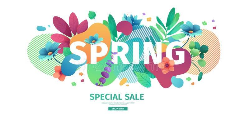 Έμβλημα σχεδίου προτύπων για την πώληση εποχής άνοιξης Σχεδιάγραμμα προσφοράς προώθησης με τα φυτά, τα φύλλα και τη floral διακόσ ελεύθερη απεικόνιση δικαιώματος