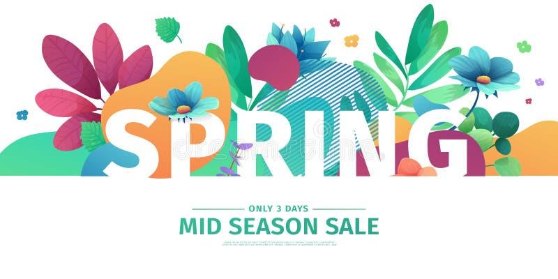 Έμβλημα σχεδίου προτύπων για την πώληση εποχής άνοιξης Σχεδιάγραμμα προσφοράς προώθησης με τα φυτά, τα φύλλα και τη floral διακόσ απεικόνιση αποθεμάτων