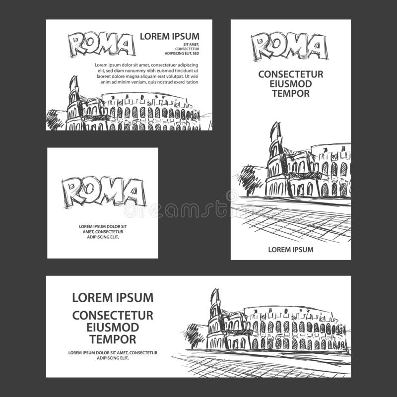 Έμβλημα ταξιδιού της Ρώμης που τίθεται με την απεικόνιση Colosseum Συρμένο χέρι υπόβαθρο σκίτσων Colosseum για το έμβλημα, κάλυψη ελεύθερη απεικόνιση δικαιώματος